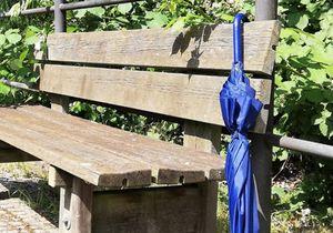 Vergessener Regenschirm an einer Parkbank